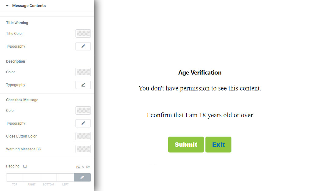 Message Contents Style for age Verification